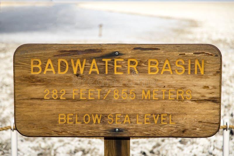 Badwater handfattecken royaltyfri bild