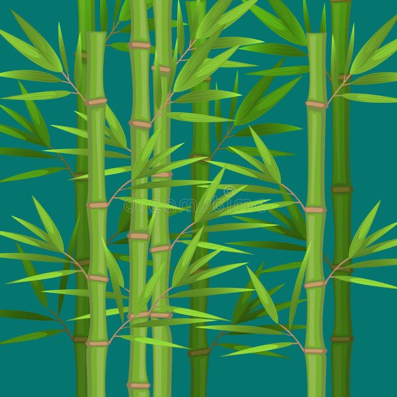 Badyle bambus z zielonych liści płaskim tematem w realistycznym ilustracja wektor