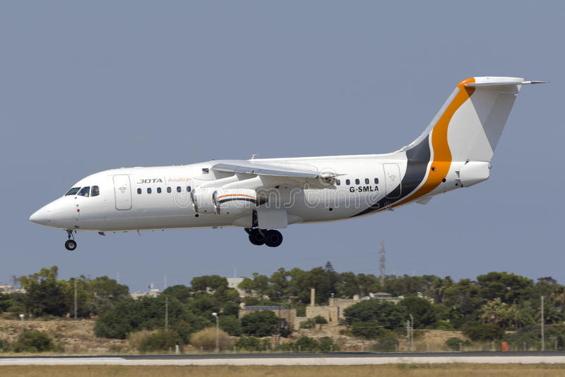BAe-146, avión de pasajeros cuadrimotor foto de archivo