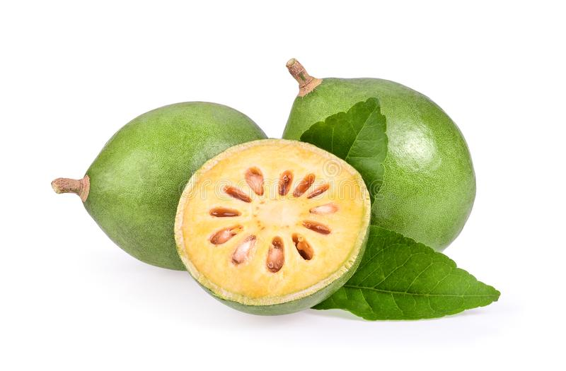 Fresh Bael fruit on white background royalty free stock photos