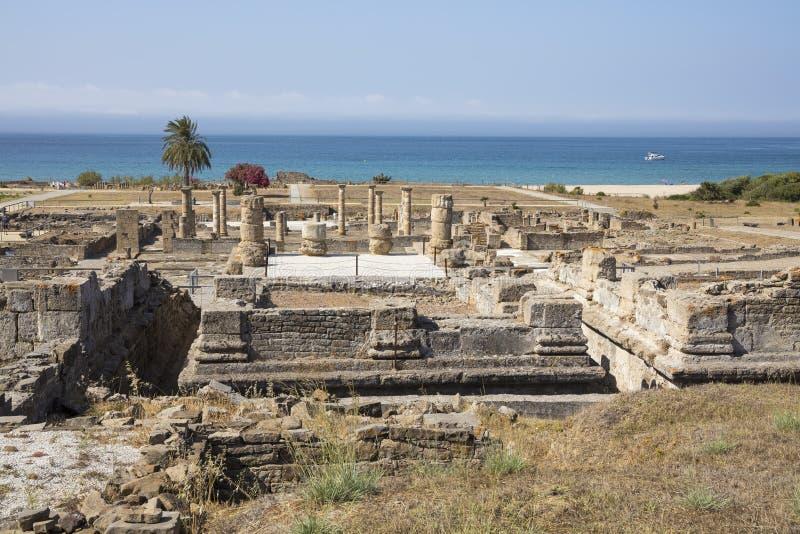 Baelo克劳迪亚罗马废墟在塔里法角,卡迪士省,西班牙 库存图片