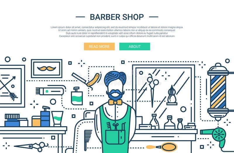 Baerber shoppar i staden - websitebaner stock illustrationer