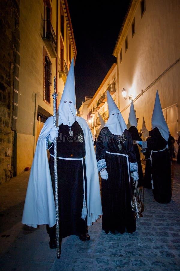 Baeza, Андалусия, провинция Jaén, Испании - Semana santa стоковые изображения