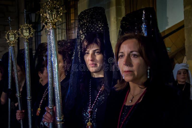 Baeza, Андалусия, провинция Jaén, Испании - Semana santa стоковые фотографии rf