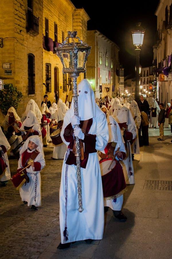 Baeza Andalusia, landskap av Jaén, Spanien - Semana santa arkivfoton