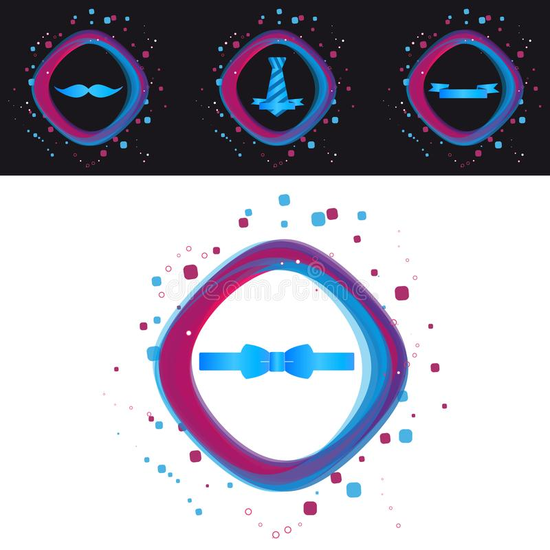 Baffi delle icone di giorno di padri, legame, Bowtie And Ribbon - illustrazione variopinta moderna di vettore - isolato su fondo  royalty illustrazione gratis