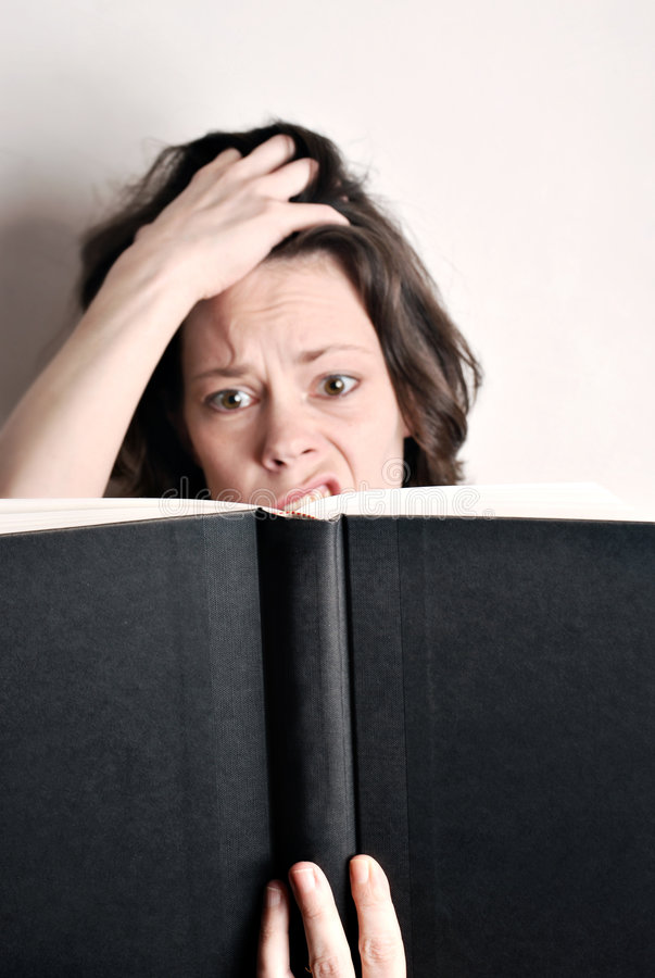 Download Baffled stock image. Image of adult, reading, woman, white - 6351933