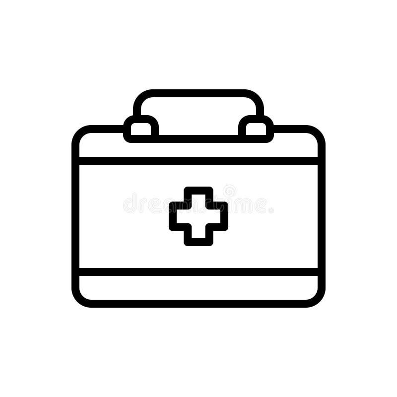 Bag,医生和药房医生的黑线象 向量例证