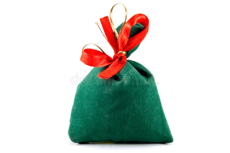 Bag. Green Santas bag on the white background stock photo