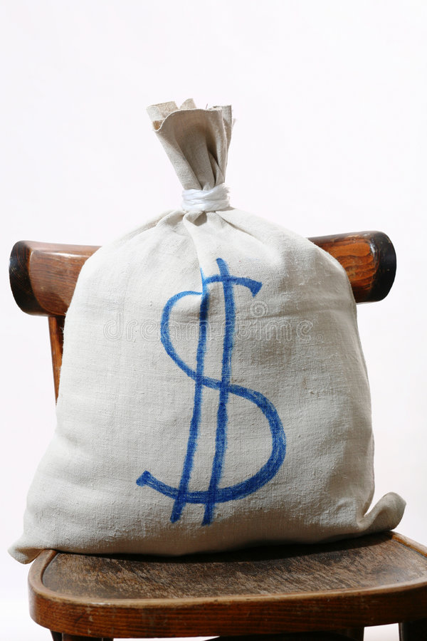 Bag. An image of a white bag with sign dollar on it stock images