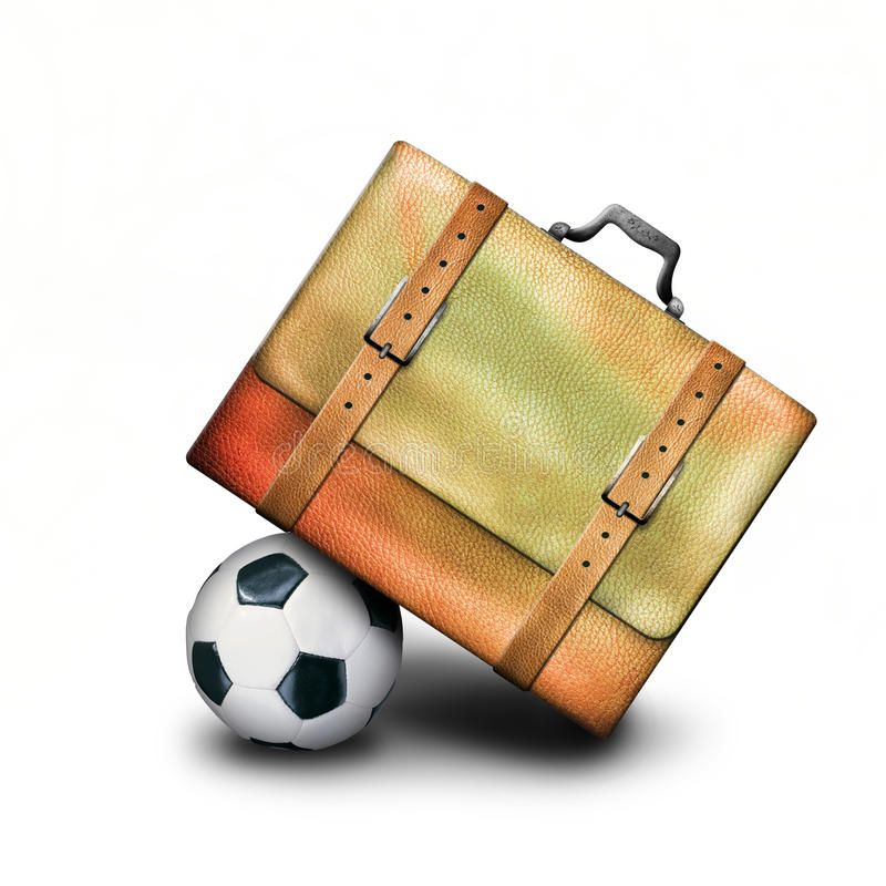 Bag and ball. Leather bag with a soccer ball stock photography