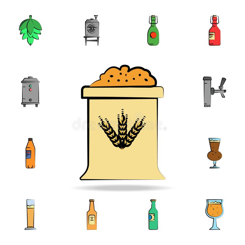 Bag of barley colored sketch style icon. Detailed set of color beer in hand drawn style icons. Premium graphic design. One of the. Collection icons for websites royalty free illustration