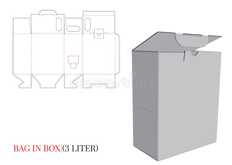 Bag in Box Template, Vector with die cut / laser cut layers. Paper Box. Bag in Wine Box, Bag in Juice Box. vector illustration