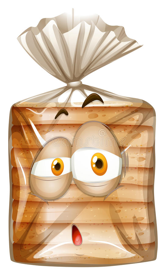 Bag of bread with sad face royalty free illustration