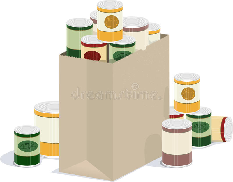 Bag of canned goods royalty free illustration
