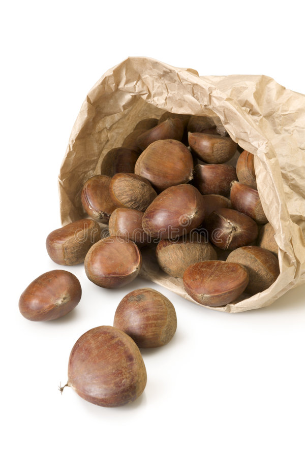 Bag of chestnuts royalty free stock photos