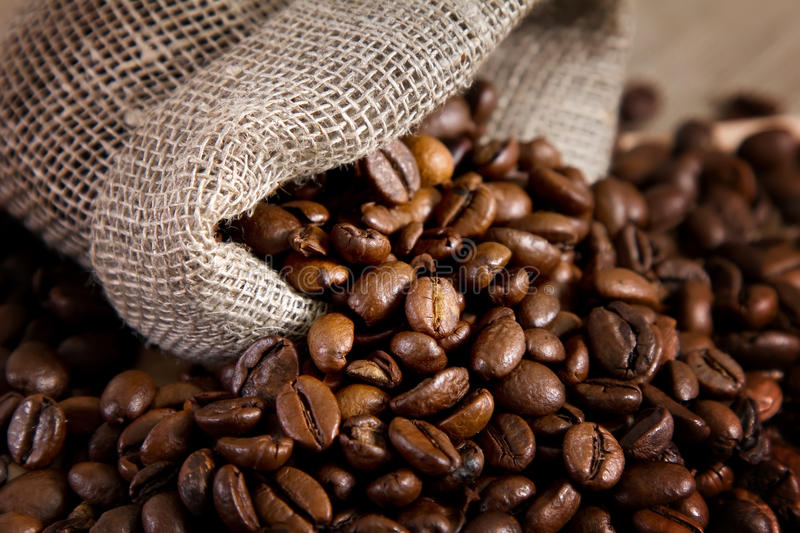 Bag with coffee beans royalty free stock images