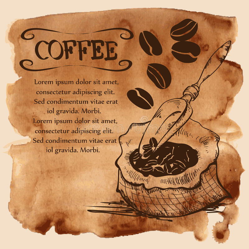 Bag with coffee beans on a watercolor background stock illustration