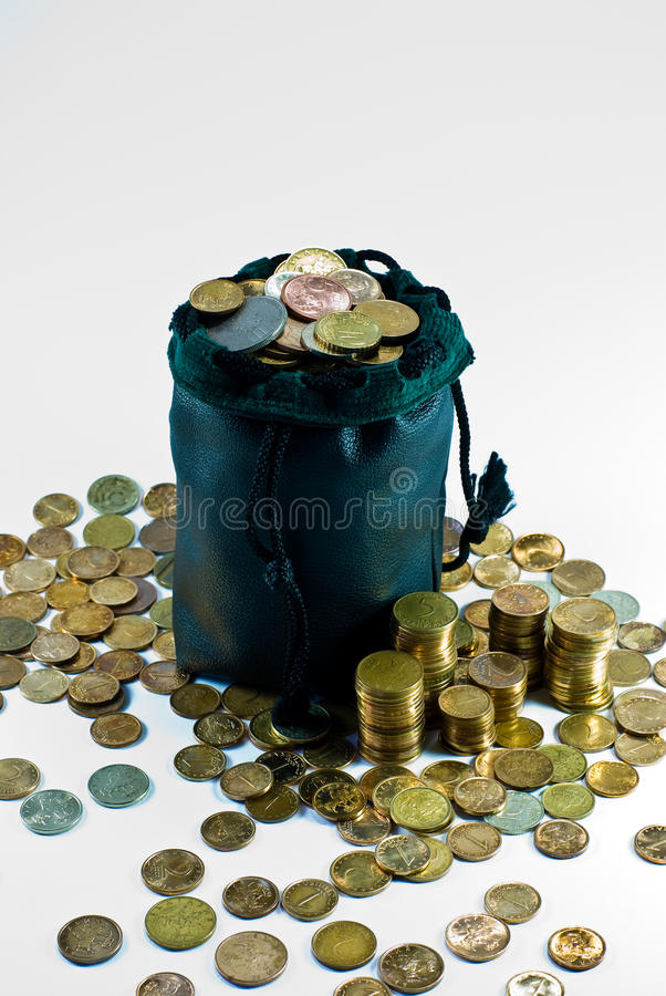 Bag of coins stock image