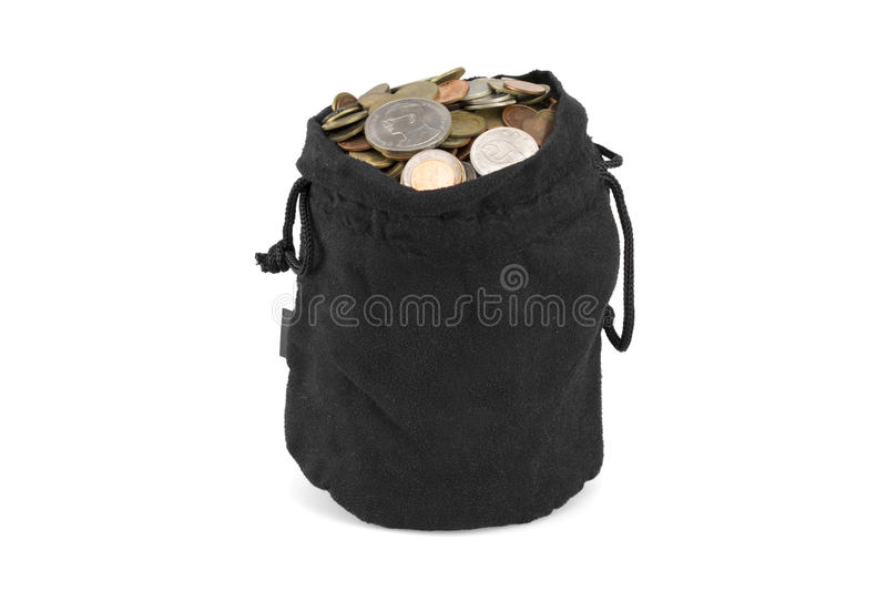 Download Bag Of Coins On A White Background Stock Photo - Image: 83707774