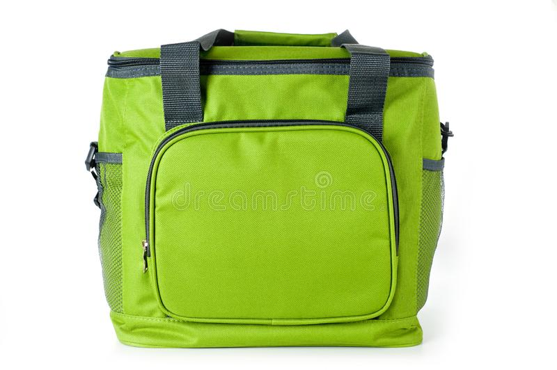 Bag cooler bright green for carrying and storing products.  royalty free stock photo