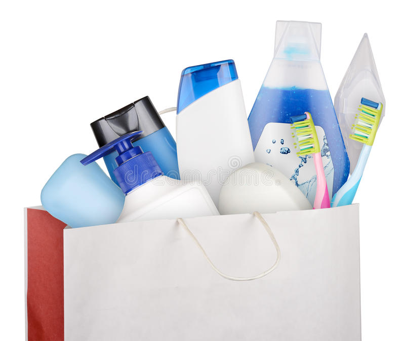 Bag with cosmetics royalty free stock photography