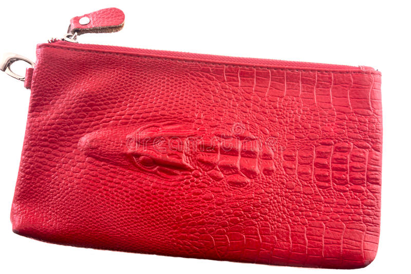 Bag from crocodile leather with alligator head royalty free stock photos