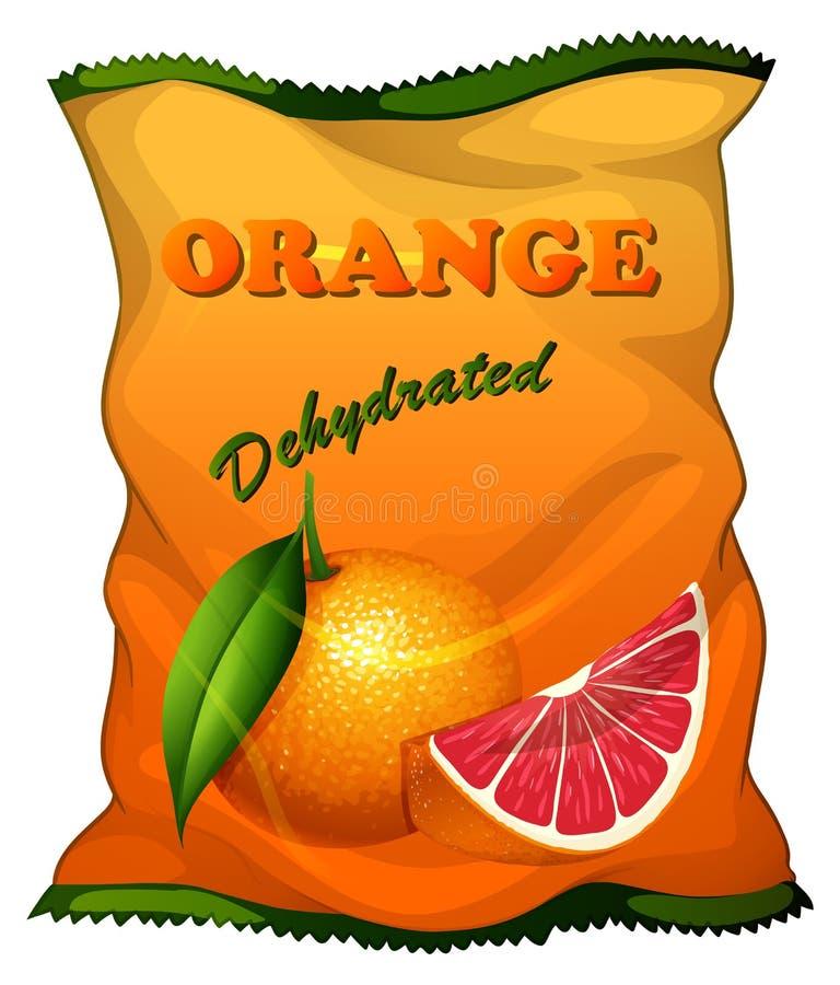 Bag of dehydrated orange. Illustration royalty free illustration