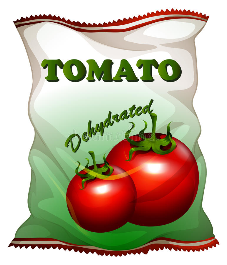 Bag of dehydrated tomatoes. Illustration royalty free illustration