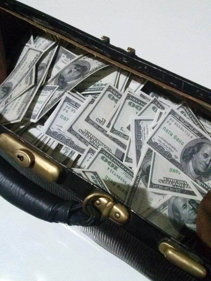 Bag with dollars royalty free stock photography