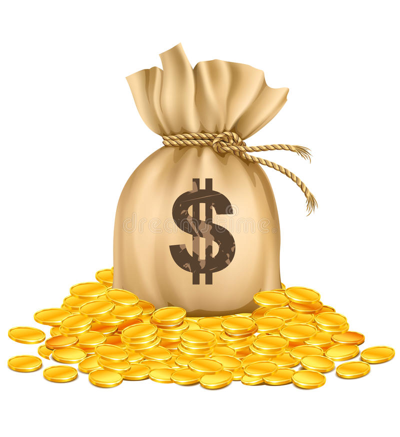 Bag with dollars money on pile of golden coins. Vector illustration, isolated on white background