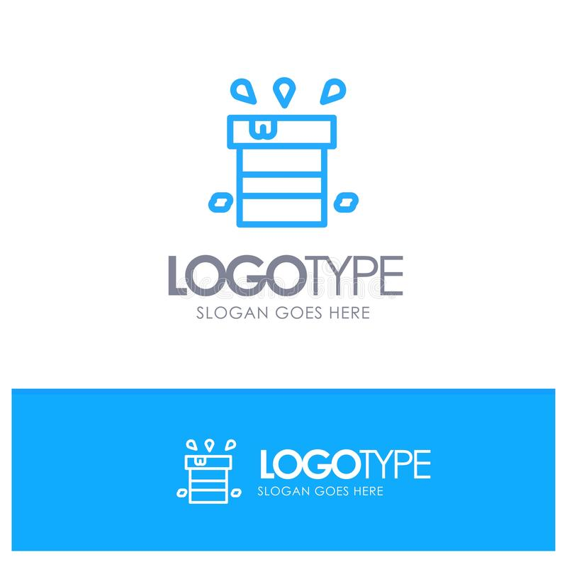 Bag, Dry, Miscellaneous, Resistant, Water Blue Outline Logo Place for Tagline vector illustration