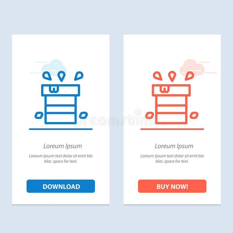 Bag, Dry, Miscellaneous, Resistant, Water  Blue and Red Download and Buy Now web Widget Card Template stock illustration