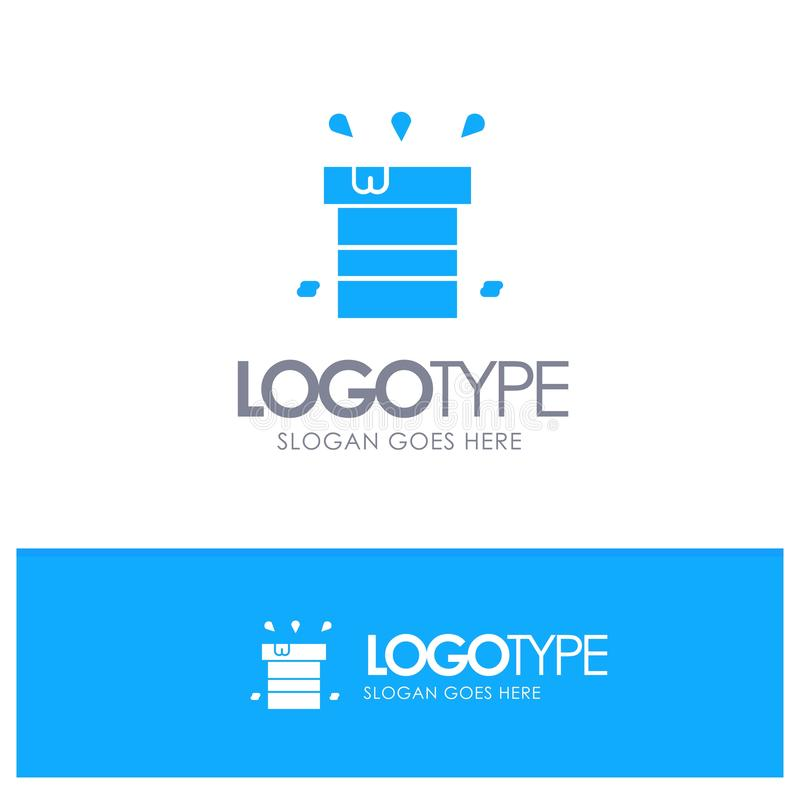 Bag, Dry, Miscellaneous, Resistant, Water Blue Solid Logo with place for tagline vector illustration