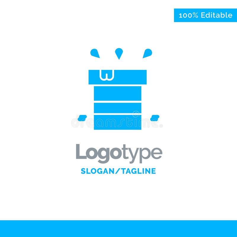 Bag, Dry, Miscellaneous, Resistant, Water Blue Solid Logo Template. Place for Tagline stock illustration