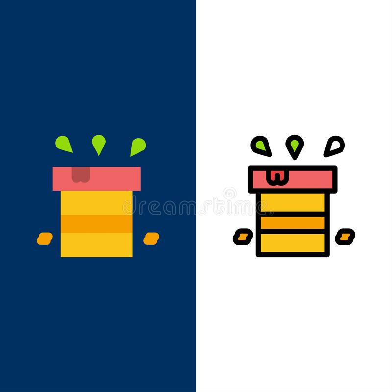 Bag, Dry, Miscellaneous, Resistant, Water  Icons. Flat and Line Filled Icon Set Vector Blue Background stock illustration
