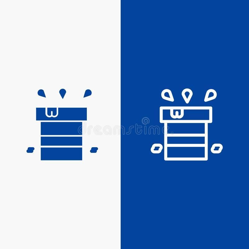 Bag, Dry, Miscellaneous, Resistant, Water Line and Glyph Solid icon Blue banner Line and Glyph Solid icon Blue banner stock illustration
