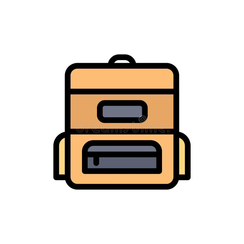 Bag, Education, Schoolbag  Flat Color Icon. Vector icon banner Template stock illustration