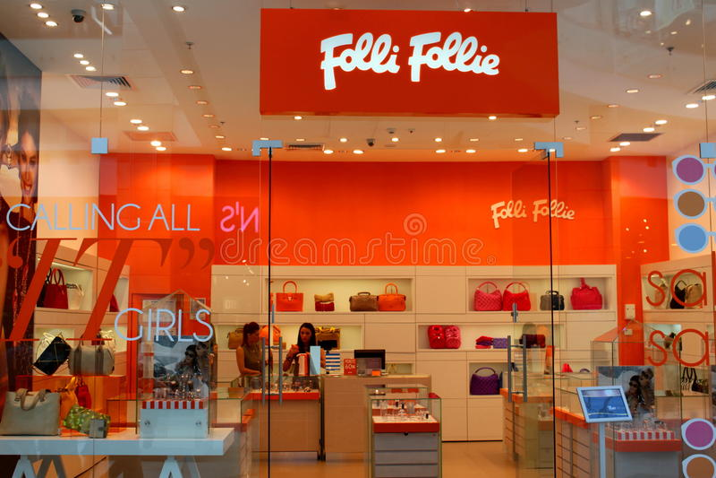Bag fashion shop Folli Follie stock photo