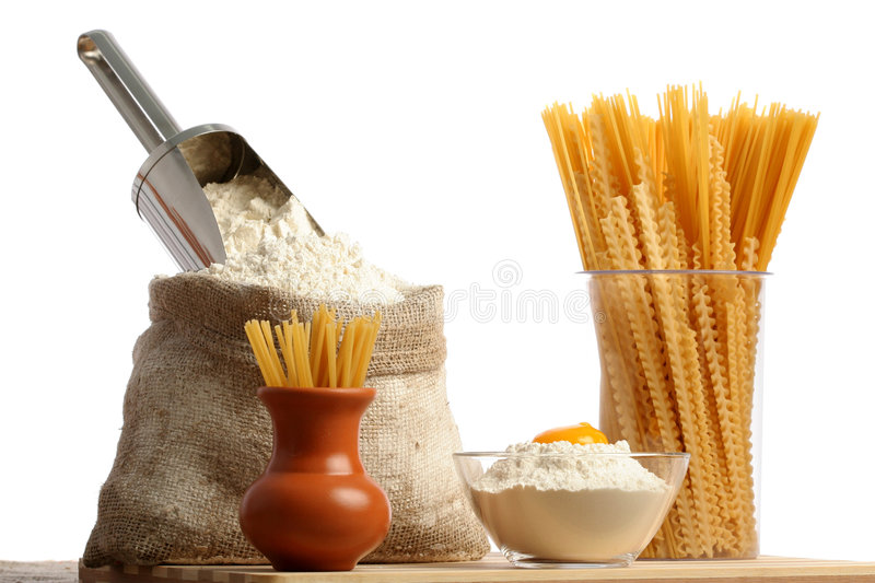 Bag with a flour and macaroni. Isoleted on white stock images
