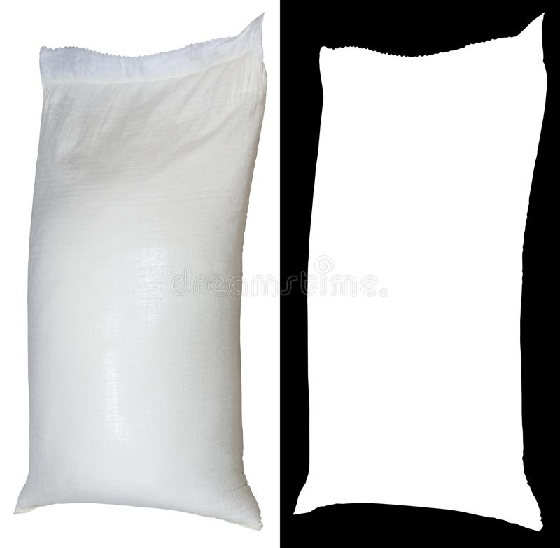 Bag of flour from polypropylene, 50 pounds, with alpha channel.  royalty free stock photo