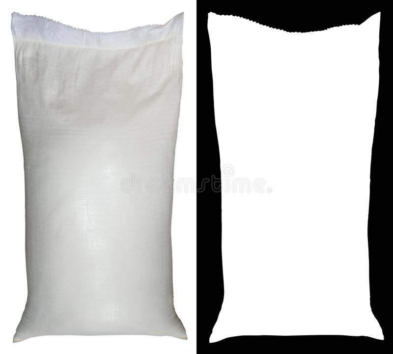 Bag of flour from polypropylene, 50 pounds, with alpha channel.  stock photography