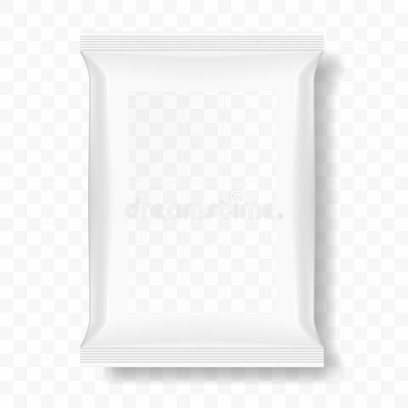 Bag For Food Or Snack With Transparent Window Template stock illustration