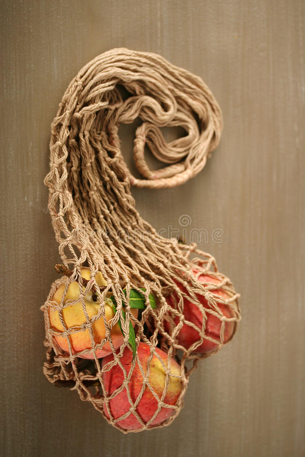 Bag with fruits and vegetables stock images