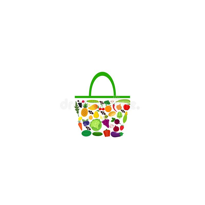 Bag with fruits and vegetables stock illustration