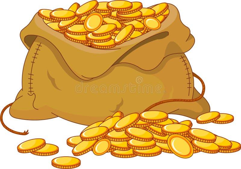 Bag full of golden coin vector illustration