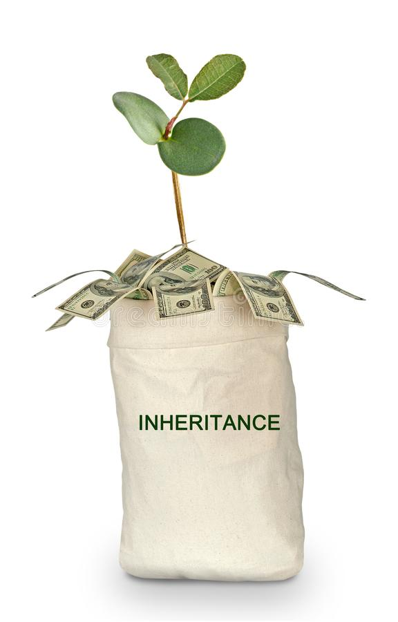 Bag with inheritance. Bag full money with inheritance royalty free stock photos