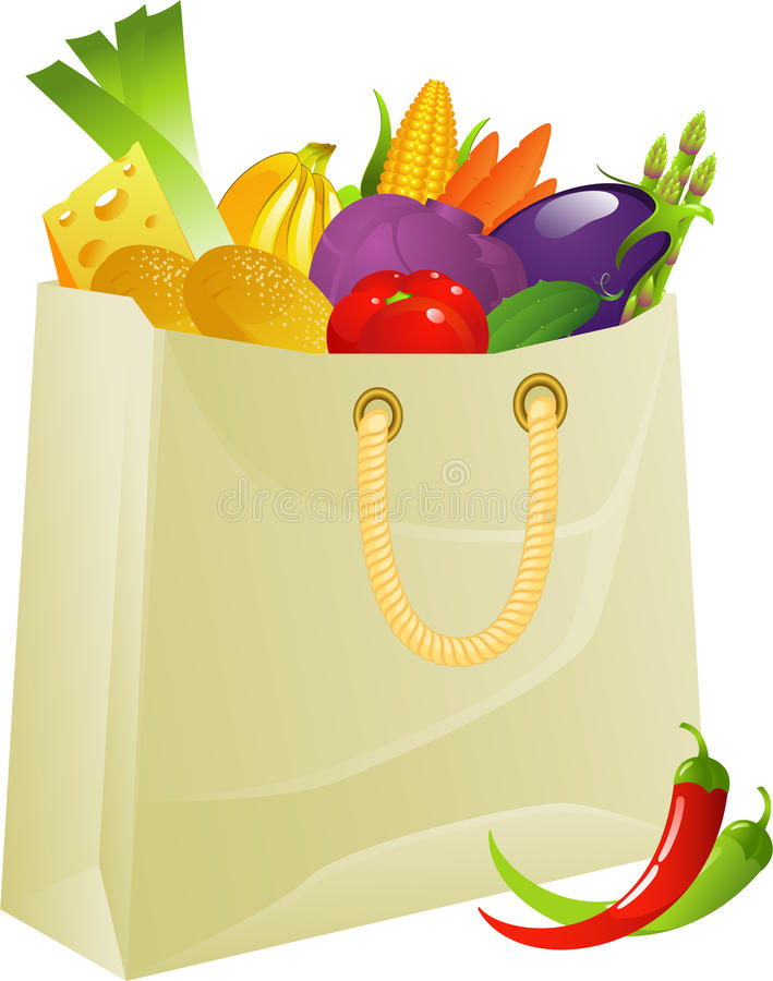 Bag full of products stock illustration