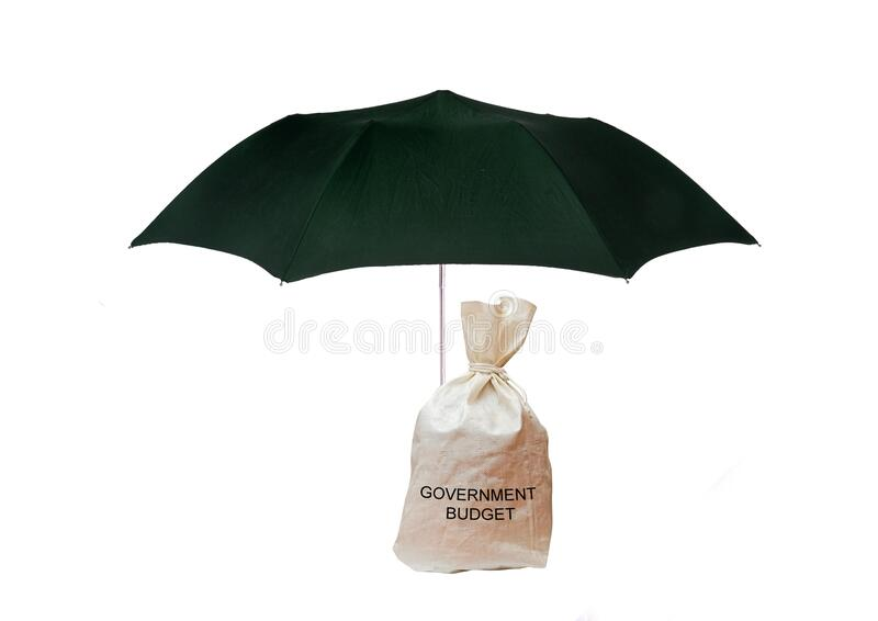 Bag with government budget under umbrella stock photo