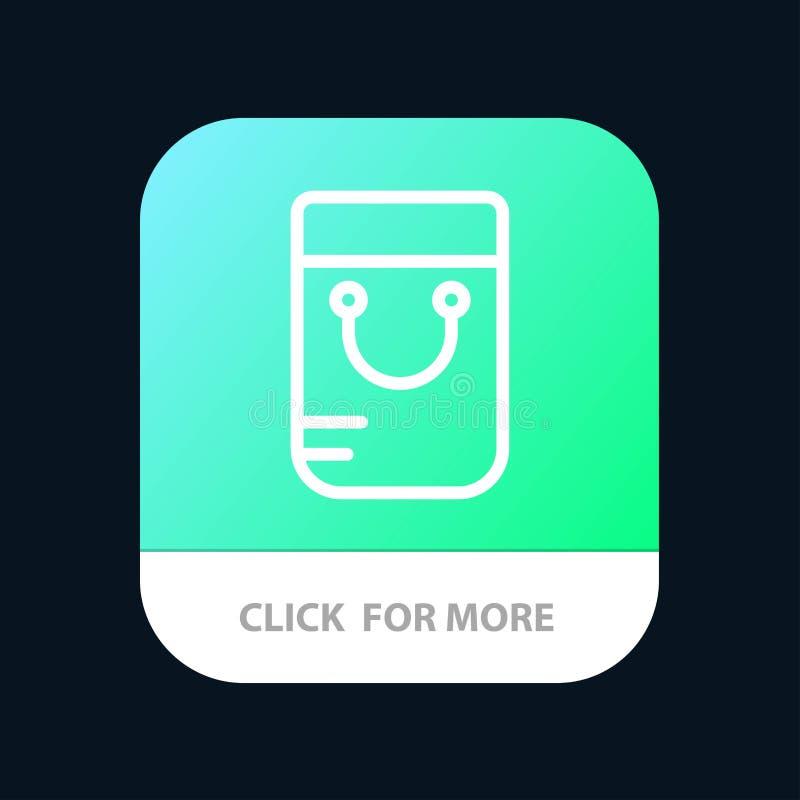 Bag, Handbag, School Mobile App Button. Android and IOS Line Version stock illustration